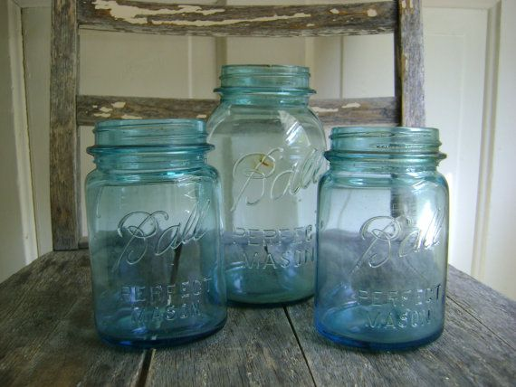 Vintage Blue Mason Bell Jars/Set of 3/Home by roadkillvintage, $19.00