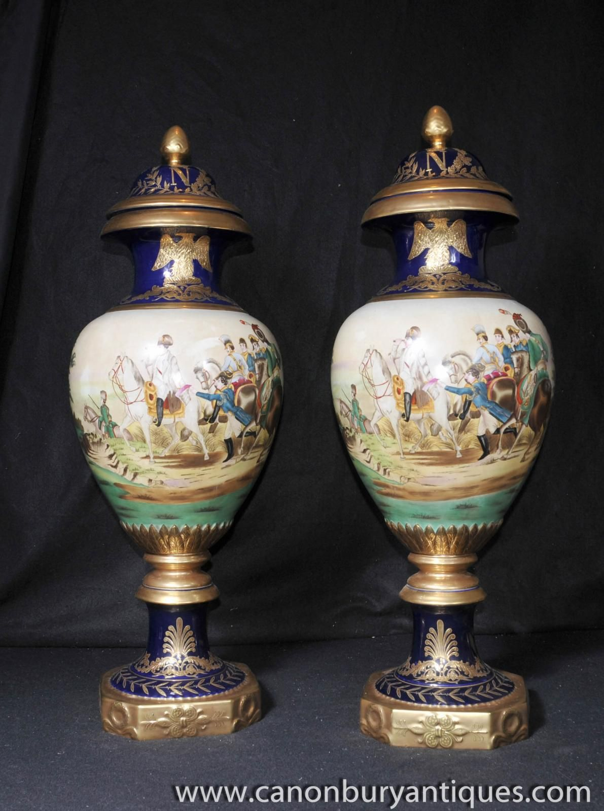 Photo of pair large paris sevres napoleon vases urns french photo of pair large paris sevres napoleon vases urns french porcelain reviewsmspy