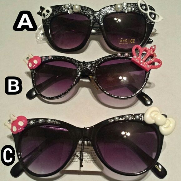 Custom Sunglasses Choose one  Or all! set price!  Handmade!  Stylish!  Different!  Skull Loverz! AFF Accessories Sunglasses