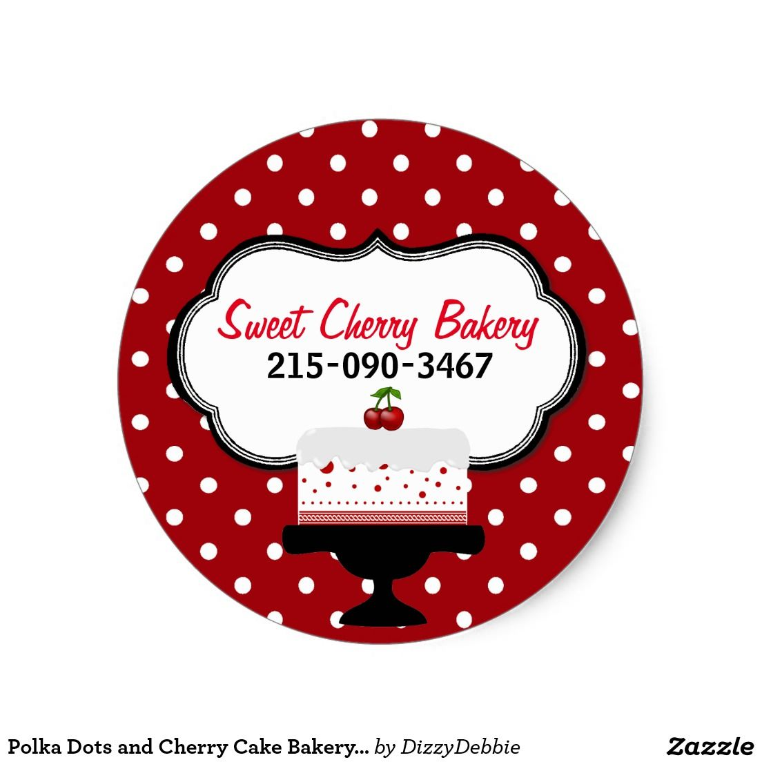 Polka dots and cherry cake bakery sticker