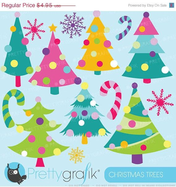 Buy 20 Get 10 Off Christmas Trees Clipart Commercial Use Etsy Christmas Tree Clipart Christmas Clipart Tree Clipart