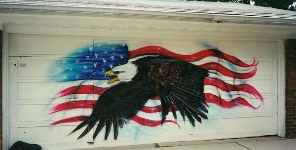 Airbrushed Eagle Over American Flag On A Garage Door