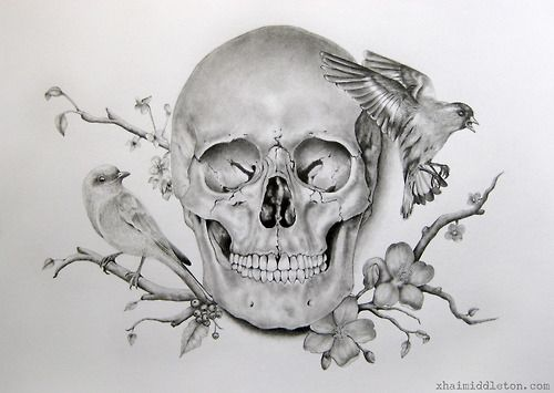 Skull Bird Flower Tattoo Maybe Make That A Bull Skull Tatts