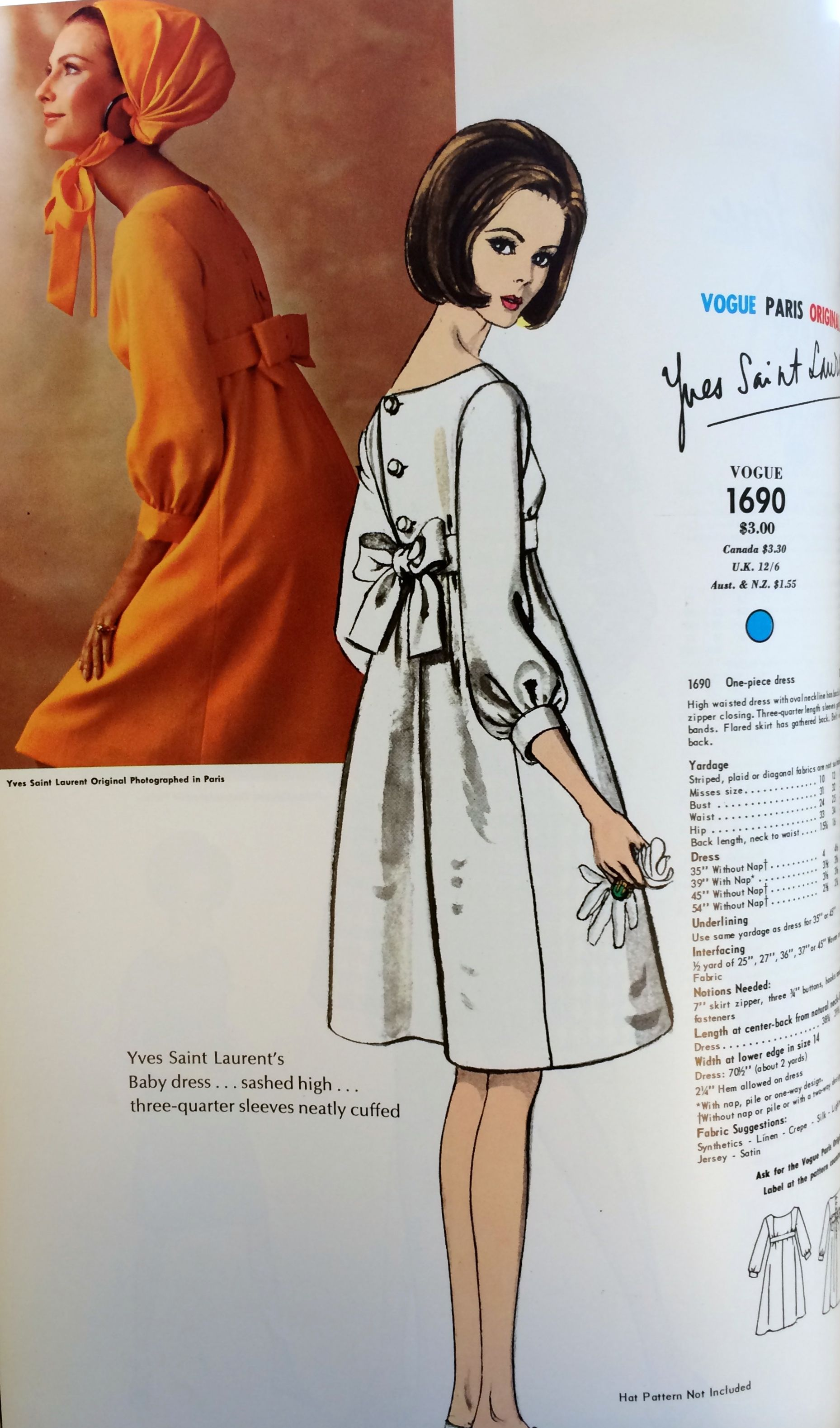 Yves Saint Laurent from the pages of Vogue Patterns catalogs. 1966 ...