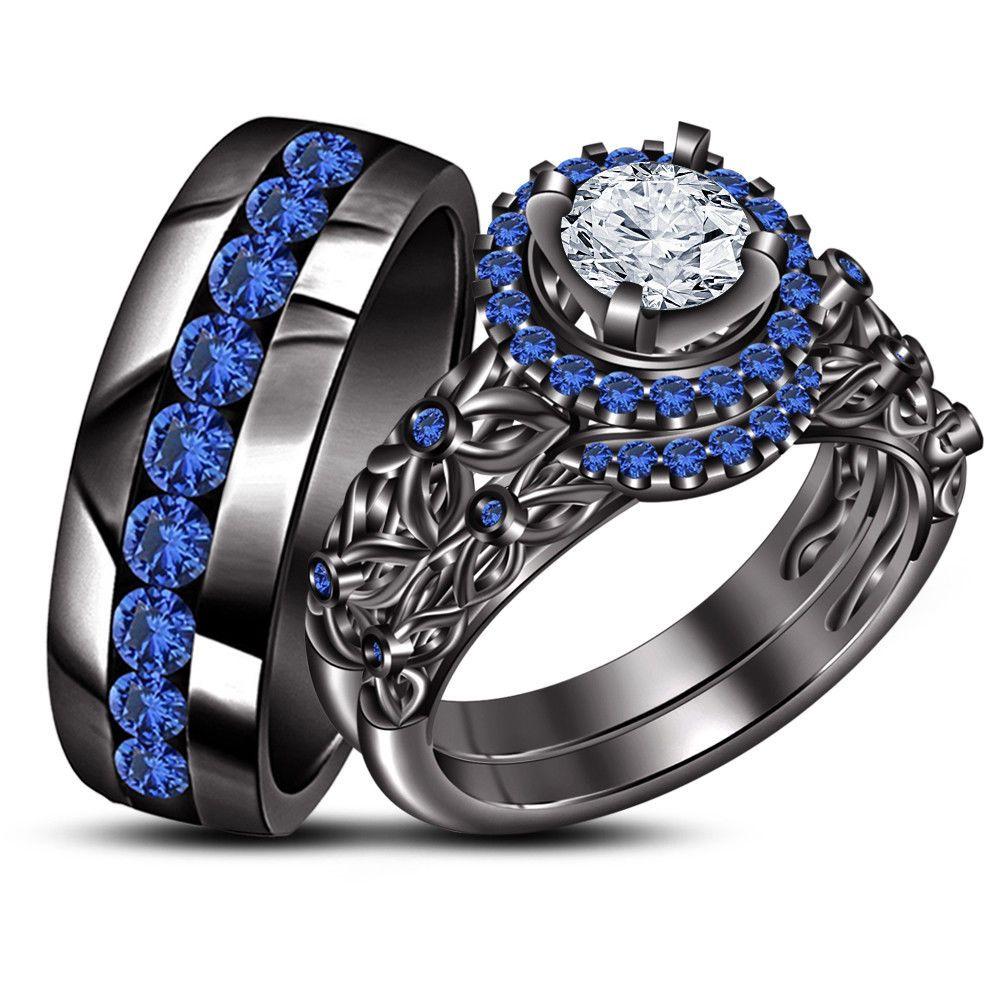 Round Sim Diamond Wedding Black Gold Fn Trio His Hers