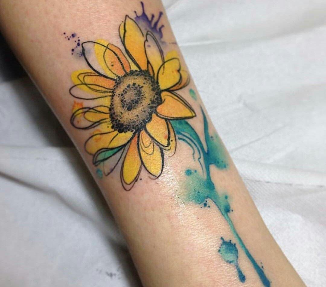 Photo of Watercolor sunflower tattoo –  Watercolor sunflower tattoo  – #butterflytattoo #…