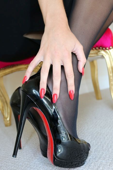 Just love the Louboutins shoes with matching nail polish in red ...