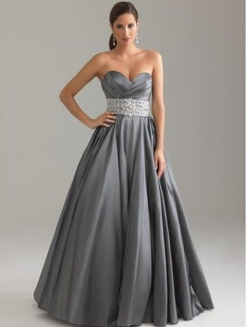 Taffeta Beaded Sweetheart Ruched Gray Evening Dresses | Evening ...