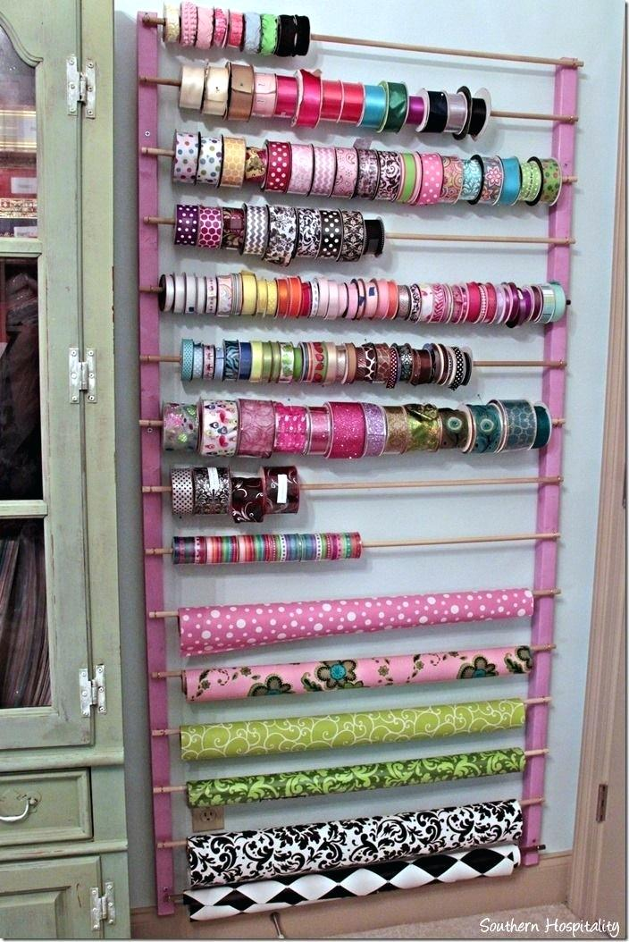 Wall Mounted Ribbon Organizer Craft Room Ideas Ribbon Storage Idea
