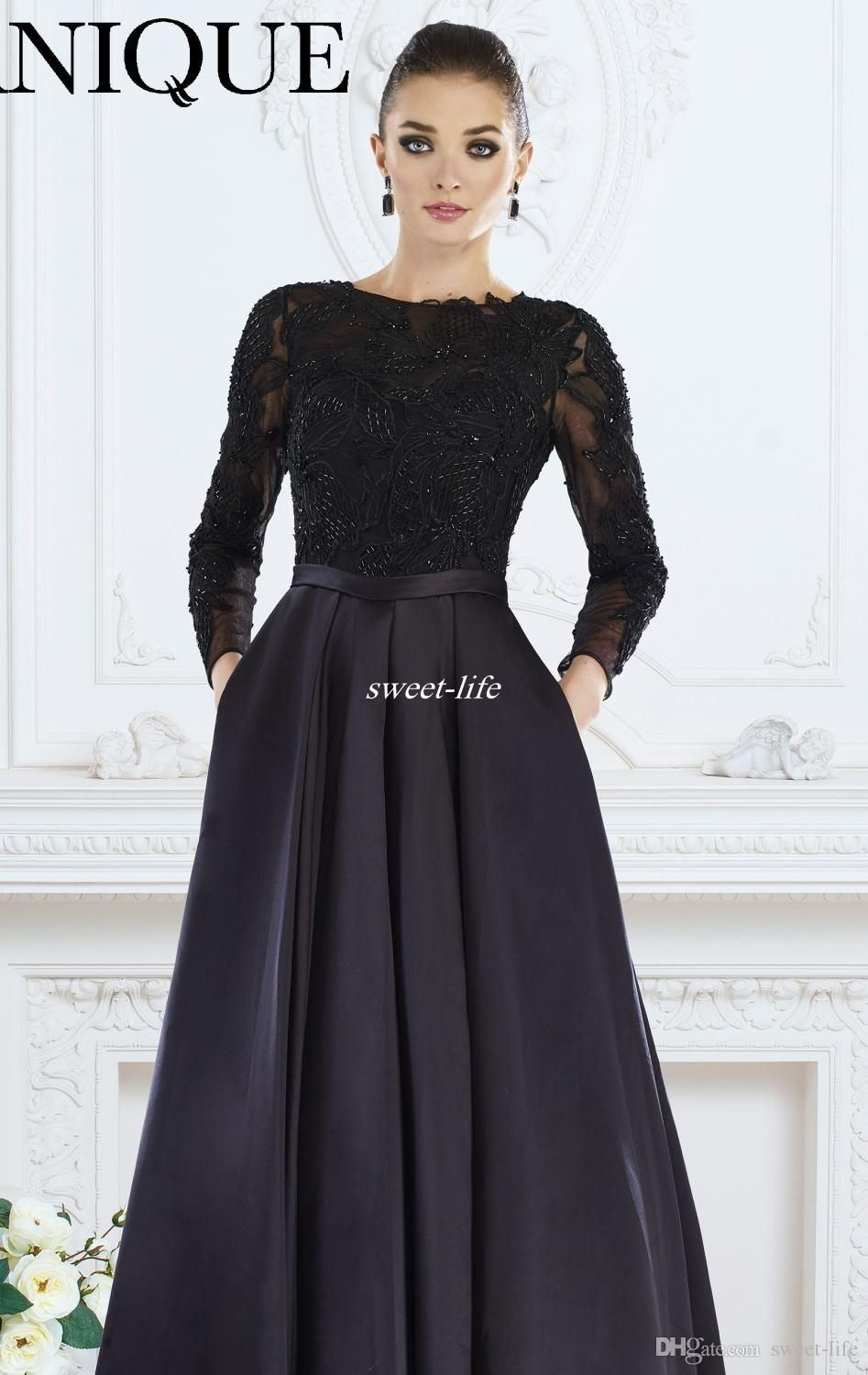 579490fdee93 Elegant Mother of the Bride Dresses with Pockets Beading Bateau Neck A-Line  Satin Ruffles Sash Custom Made 2016 Long Sleeve Evening Dresses