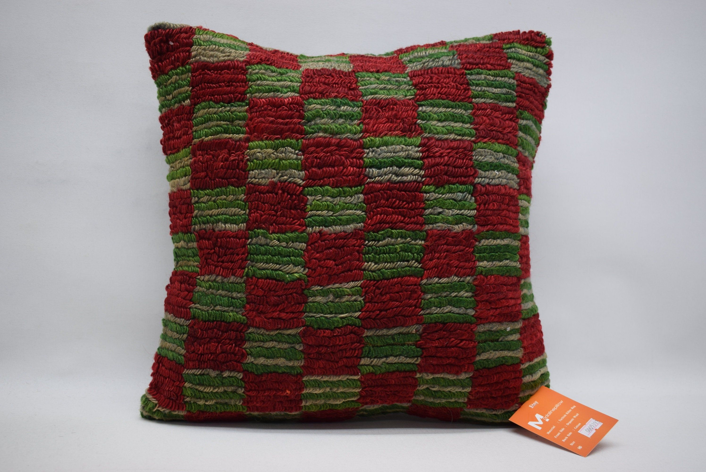 Kilim pillow / throw pillow / turkish kilim pillow / floor pillow 16x16 handwoven pillow / boho decor / kilim cushions 05393