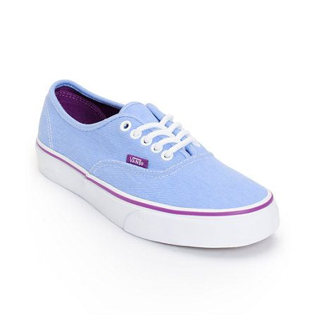 9388b5d4642b Step into a timeless look that has no shortage of style with the Vans  Authentic Washed Twill shoes for girls. Built with a Blue twill upper and  the Vans ...