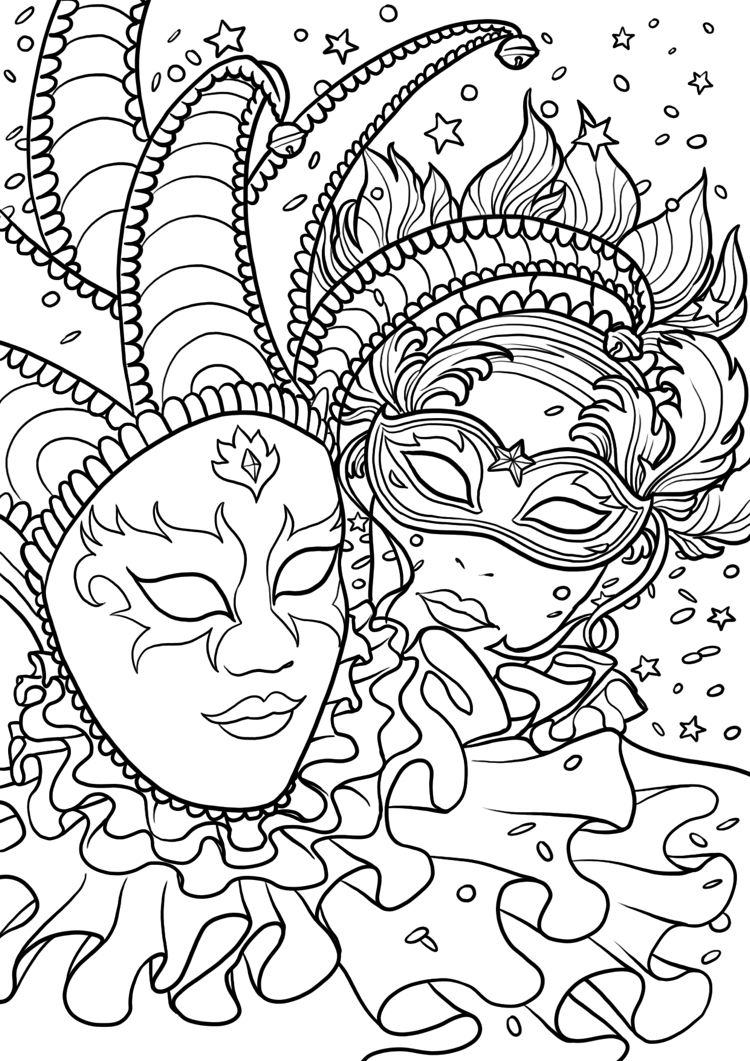 Karneval Ausmalbilder Kinder Venedig Masken #children #