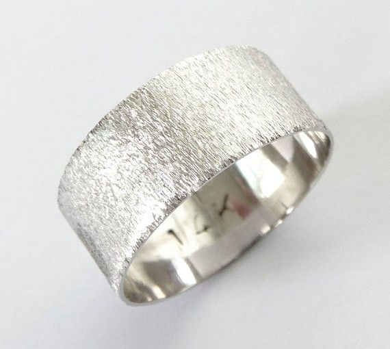 White gold men wedding band with deep sand roughness finish. $425.00 ...