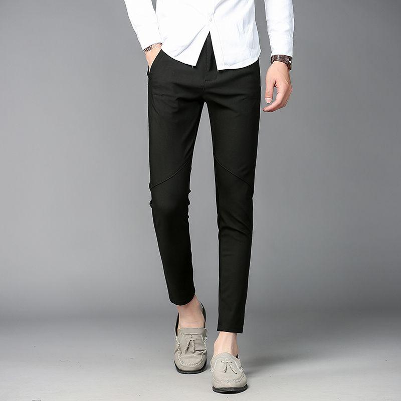 2017 New Wedding Luxury Mens Dress Ankle Lenght Pants Pencil Pattern Spring Summer Black Skinny Fit Elegant Trousers Office