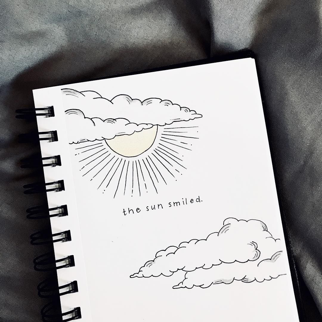Bullet journal quote page, sun and clouds drawing. | #bulletjournalideas