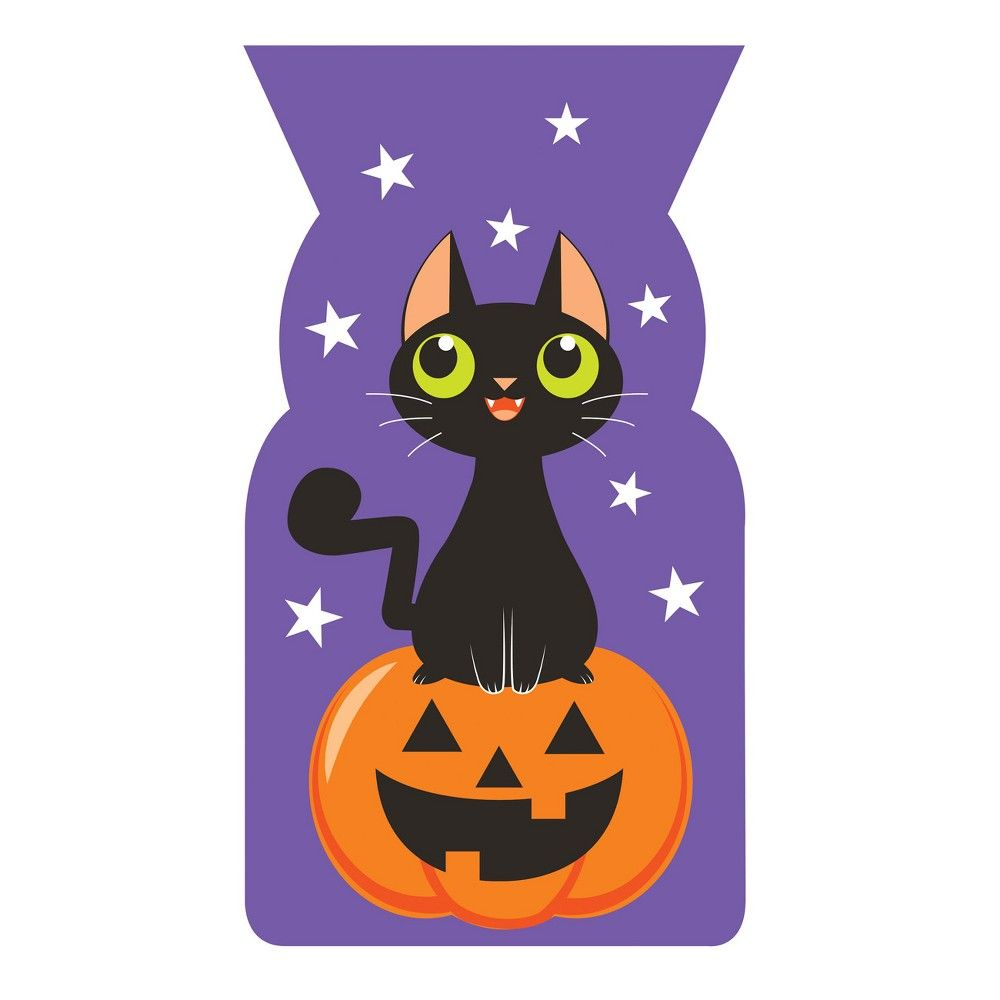 PARTY FAVOR BAGS HALLOWEEN Black Cat 20 CELLO TREAT BAGS WITH TIES NEW
