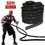 1 5 Poly Dacron 50ft Battle Rope Exercise Workout Strength Training Undulation Black By Yahee Strength Training Vigorous Workout Battle Rope Workout