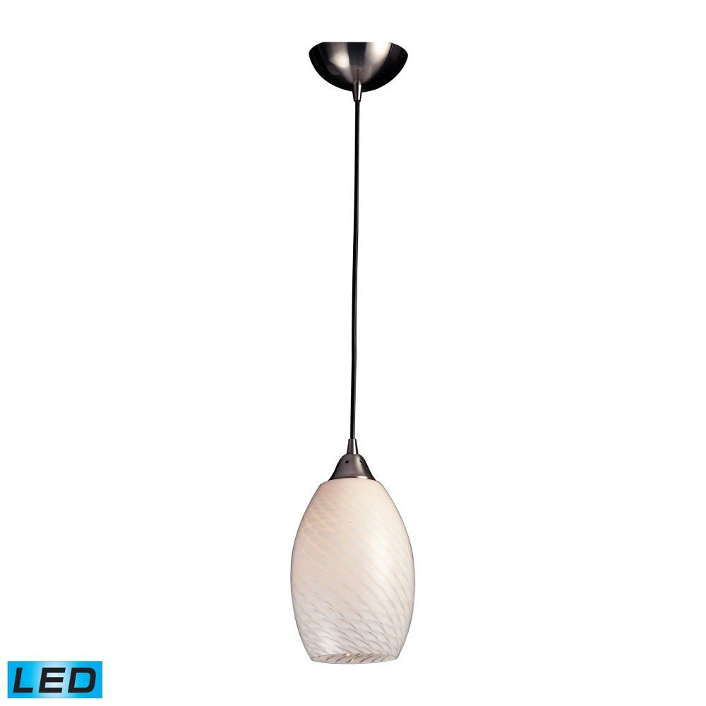 Mulinello 1 Light Led Pendant In Satin Nickel And White Swirl Glass 517 1ws Led Park Lighting Glass Pendant Light Elk Lighting Art Glass Lighting