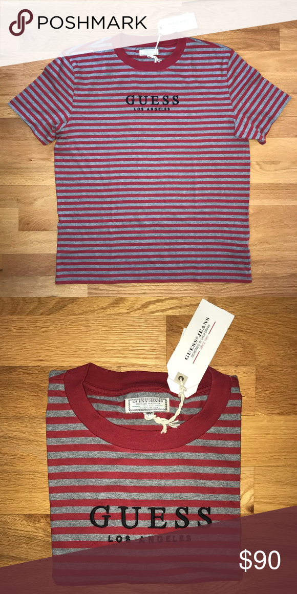 55337510cf Guess Los Angeles Striped Shirt Guess Jeans Red and Gray Striped t shirt.  NWT guess Los Angeles embroidered on front in black. Guess Shirts Tees -  Short ...