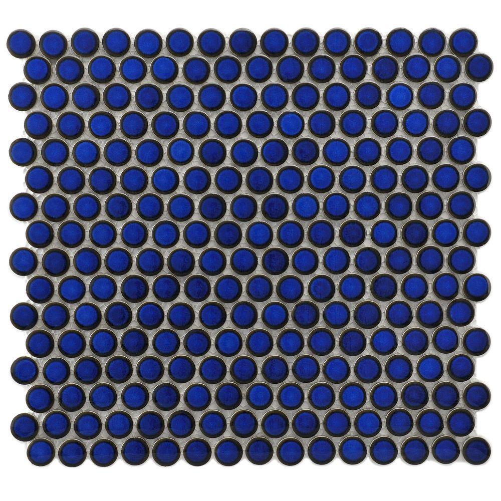 SomerTile 12.25x12-in Penny 3/4-in Blue Eye Porcelain Mosaic Tile ...