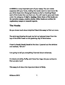 This Freebie Will Show Students The Difference Between A Boring Hook And A Fantastic One Teach Your Students How Writing Hooks Writing Leads Expository Essay