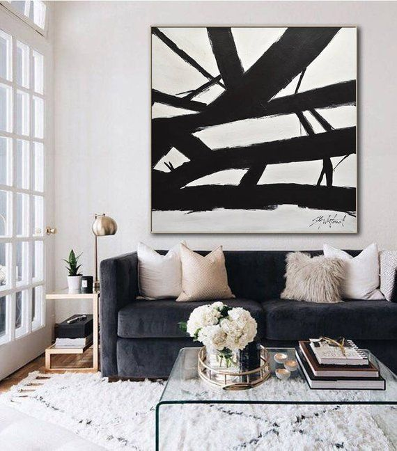 Photo of Minimalist Painting Black and White Abstract Art Large Wall Art Contemporary Modern Art Huge Oil Painting Artwork Design by Sky Whitman
