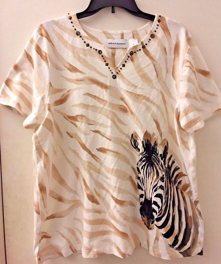 Alfred Dunner White Beige Beaded Zebra Print Short Sleeve Top Womens Size L  #AlfredDunner #KnitTop #Casual