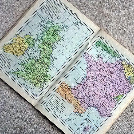 Vintage world atlas 1976 Retro pocket political map by MyWealth