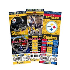 Pittsburg Steelers Birthday Party Tickets Invitations Football