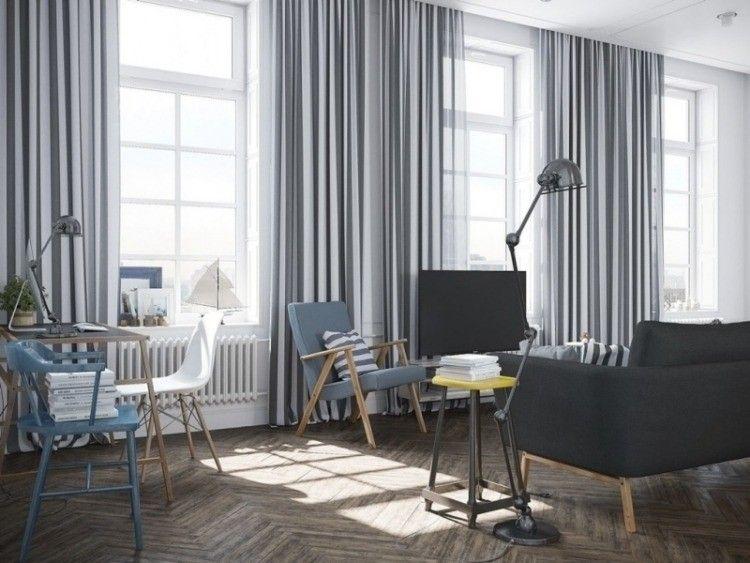 cortinas a rayas blancas y gris en el saln moderno - Cortinas Salon Moderno