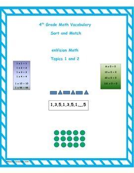 4th Grade Envision Math Topics 1 And 2 Vocabulary Sort And Match Envision Math Math Vocabulary Free Math Worksheets