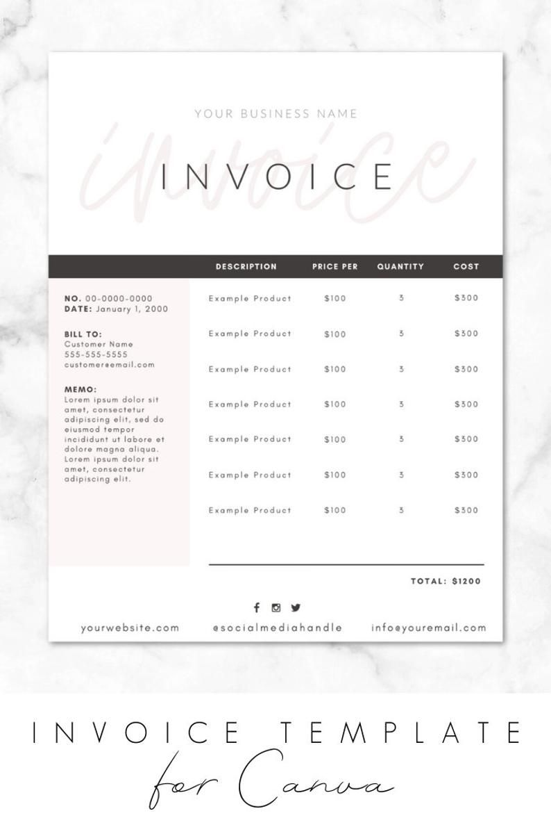 Invoice Template For Canva Invoice Design Order Form Printable Diy Customizable Editable Instant Download Branding Business Inv03 Invoice Design Invoice Template Invoice Design Template