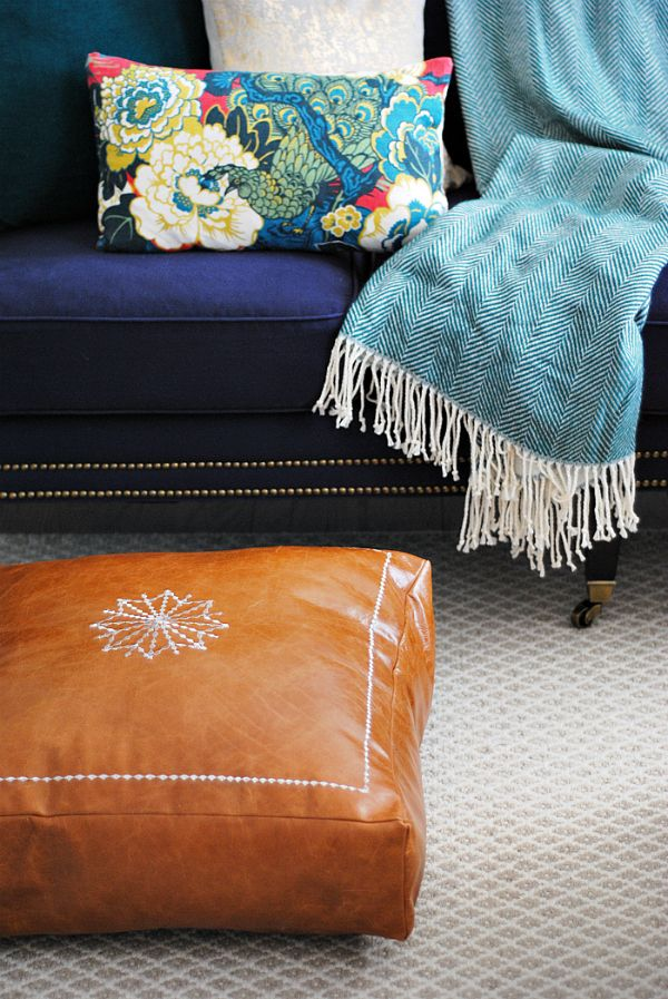 DIY Moroccan Leather Pouf | Moroccan leather pouf, Leather pouf and ...
