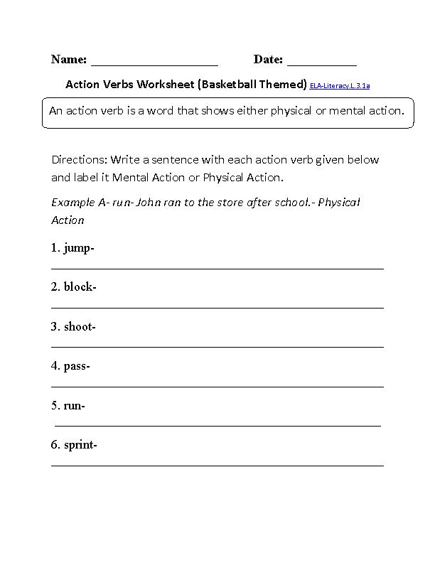 Verbs Worksheet 1 ELA Literacy L 3 1a Language Worksheet