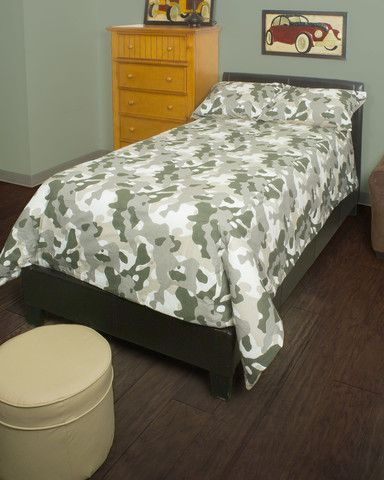 Camo Gray Twin Size Twin Comforter Set