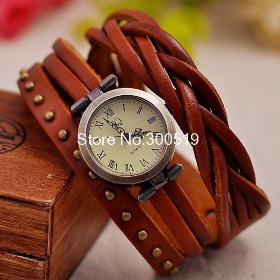 Jw325 Vintage Retro Rivet Braided Genuine Leather Strap Women Wristwatches Bracelet Dress Watches Clock Relogio De Couro Relogio Quartz Relogio Pulso Feminino