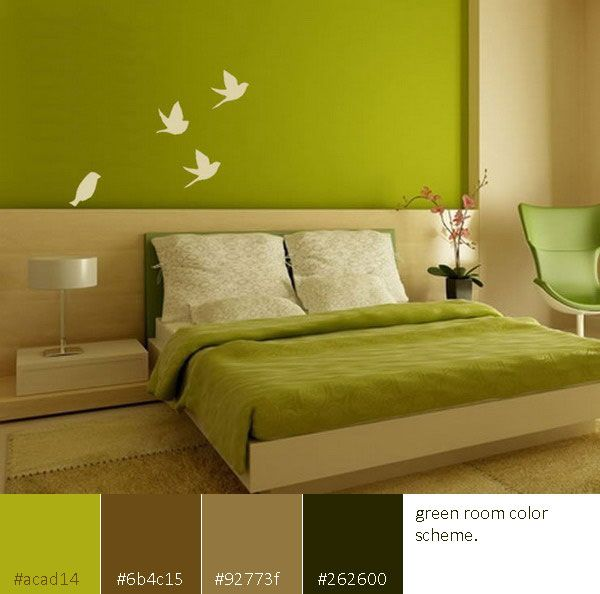green color scheme room ideas - Green Color Bedroom