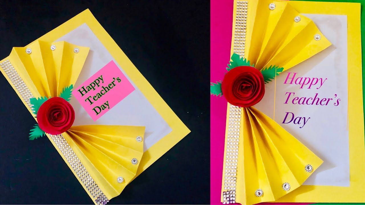 Simple Card Making For Teachers Day How To Make Beautiful And Easy Card Handmade Card Papercraft Youtube Cards Handmade Simple Cards Teacher Cards