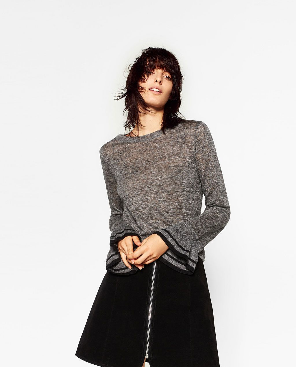 Sweater with sleeve frill details zara picks pinterest
