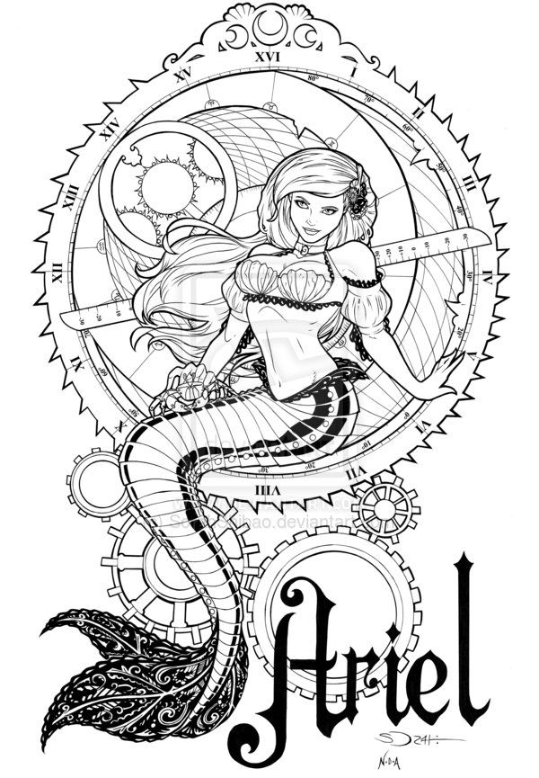Steampunk Ariel Inks By Sorahshibao On Deviantart Steampunk Coloring Fairy Coloring Pages Disney Coloring Pages