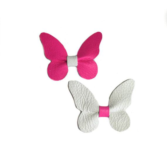 butterfly bow neon hair clip white