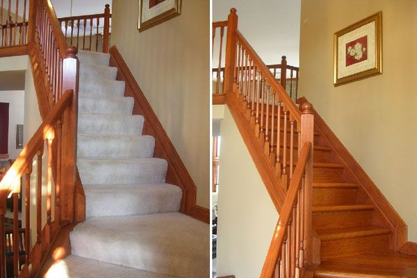 Slash The Cost Of A New Hardwood Staircase. Convert Carpeted Stairs To  Hardwood Or Give