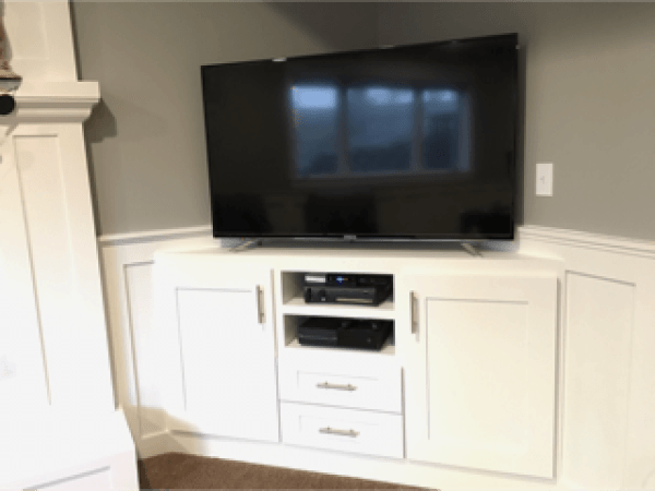 Built In Corner Entertainment Center And Diy Cabinet Doors