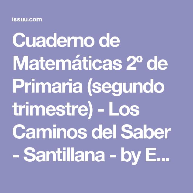 Cuaderno de Matemáticas 2º de Primaria (segundo trimestre