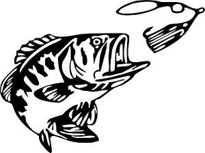 Buy Bass Fishing Vinyl Decal Bigmouth Lures Fish Truck  Boat - Vinyl fish decals for boats