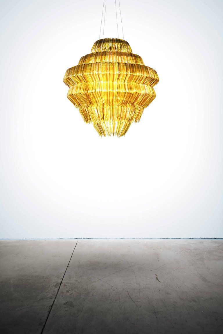 Brilli G Chandelier in Gold Resin by Jacopo Foggini Pendant