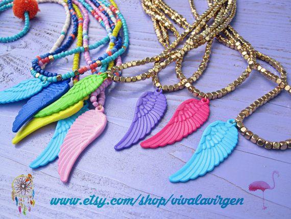 Happy Wings Hippie Chic Necklace Blue Wing Orange por VivalaVirgen