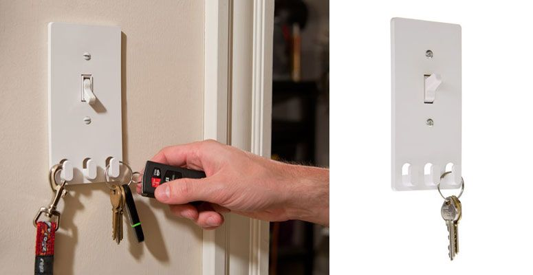 This ingenious light switch cover replaces your standard switch plate and  has three hooks on the bottom that can conveniently hold your keys, jacket,  ...