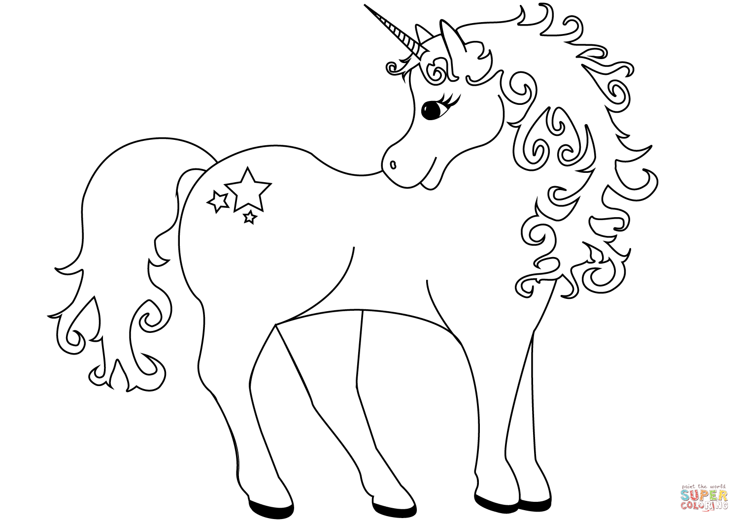 Lovely Unicorn Coloring Page From Unicorn Category Select From
